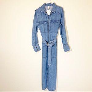 H&M long denim belted shirt dress